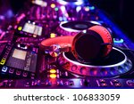 dj mixer with headphones at... | Shutterstock . vector #106833059