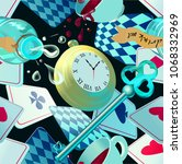 alice in wonderland. playing... | Shutterstock .eps vector #1068332969