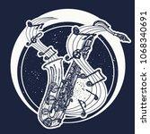 jazz tattoo and t shirt design. ...   Shutterstock .eps vector #1068340691