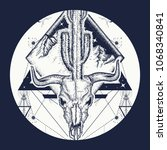 Dream cather tattoo and t-shirt design. Psychodelic art. Bull skull, cactus, mountains, sacred geometry