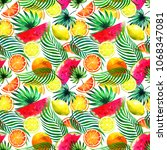 tropical watercolor fruits.... | Shutterstock . vector #1068347081