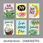 vector set of bright summer... | Shutterstock .eps vector #1068360701