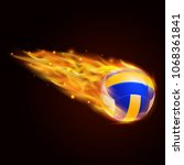 volley ball with fire effect... | Shutterstock .eps vector #1068361841