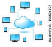 Cloud computing. Illustration for design on white background - stock vector