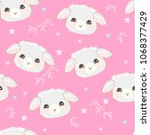 seamless pattern with lamb ... | Shutterstock .eps vector #1068377429