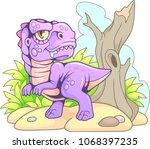 cartoon cute tyrannosaurus rex  ... | Shutterstock .eps vector #1068397235
