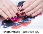 attractive manicure on women's... | Shutterstock . vector #1068406427