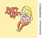 happy mother's day. young woman ... | Shutterstock .eps vector #1068408611