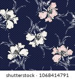 flower pattern on navy... | Shutterstock .eps vector #1068414791