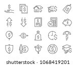 loan and interest icon set.... | Shutterstock .eps vector #1068419201