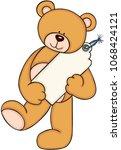 teddy bear holding a blank tag... | Shutterstock .eps vector #1068424121