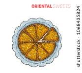 turkish dessert kunefe  hand... | Shutterstock .eps vector #1068435824