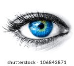 Blue woman eye macro shot
