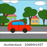 illustrated. the car is going... | Shutterstock .eps vector #1068441437