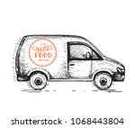 delivery truck hand drawn ... | Shutterstock .eps vector #1068443804