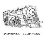 silhouette retro steam engine... | Shutterstock .eps vector #1068449207
