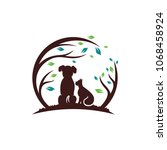 Stock vector dog with cat and tree logo design template vector illustration 1068458924