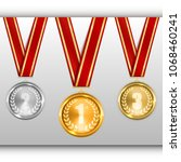 set of gold silver and bronze... | Shutterstock .eps vector #1068460241