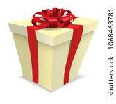 yellow cartoon vector gift box. ... | Shutterstock .eps vector #1068463781