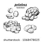 potatoes set. bag of potatoes... | Shutterstock .eps vector #1068478025