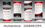 red roll up banner template ... | Shutterstock .eps vector #1068481394
