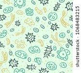 hand drawn seamless bacterium... | Shutterstock . vector #1068483215