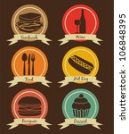 food icons on vintage... | Shutterstock .eps vector #106848395