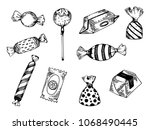 candy engraving raster... | Shutterstock . vector #1068490445