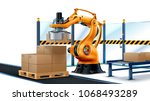 robot palletizing systems ... | Shutterstock .eps vector #1068493289
