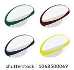 rugby ball different color set | Shutterstock .eps vector #1068500069