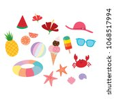 set of cute summer doodle ... | Shutterstock .eps vector #1068517994