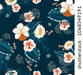 blooming  floral pattern in the ... | Shutterstock .eps vector #1068549191