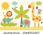 Stock vector baby jungle animals near the palm tree vector illustration eps 1068552407
