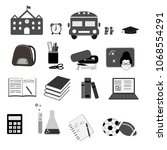 school and education icon set ... | Shutterstock .eps vector #1068554291