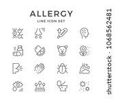 set line icons of allergy... | Shutterstock . vector #1068562481