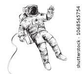 cosmonaut or astronaut in... | Shutterstock .eps vector #1068565754