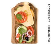 open  faced sandwich canape or... | Shutterstock . vector #1068566201