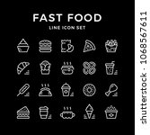 set line icons of fast food... | Shutterstock . vector #1068567611