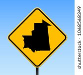 mauritania map road sign.... | Shutterstock .eps vector #1068568349