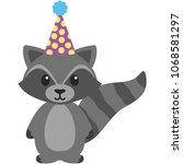 birthday woodland raccoon... | Shutterstock .eps vector #1068581297