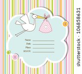 Stock vector baby girl arrival card baby shower card 106858631