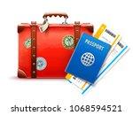 retro suitcase passport and... | Shutterstock .eps vector #1068594521