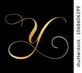 gold script letter y   Shutterstock .eps vector #1068606299