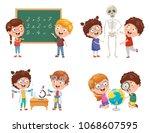 vector illustrations of kids... | Shutterstock .eps vector #1068607595