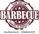 Vintage Barbecue Restaurant Menu Stamp - stock vector