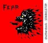 angry werewolf head silhouette. ... | Shutterstock .eps vector #1068613739