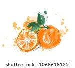 orange fruit vector... | Shutterstock .eps vector #1068618125
