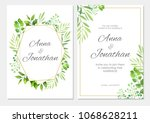 wedding invitation with green... | Shutterstock .eps vector #1068628211