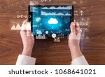hand holding tablet and... | Shutterstock . vector #1068641021