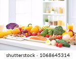 assortment of fresh fruits and... | Shutterstock . vector #1068645314